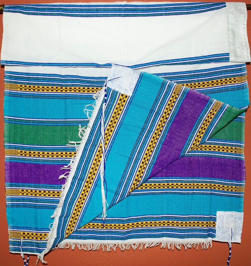 Colorful Blue Green Purple Tallit with Embroidery