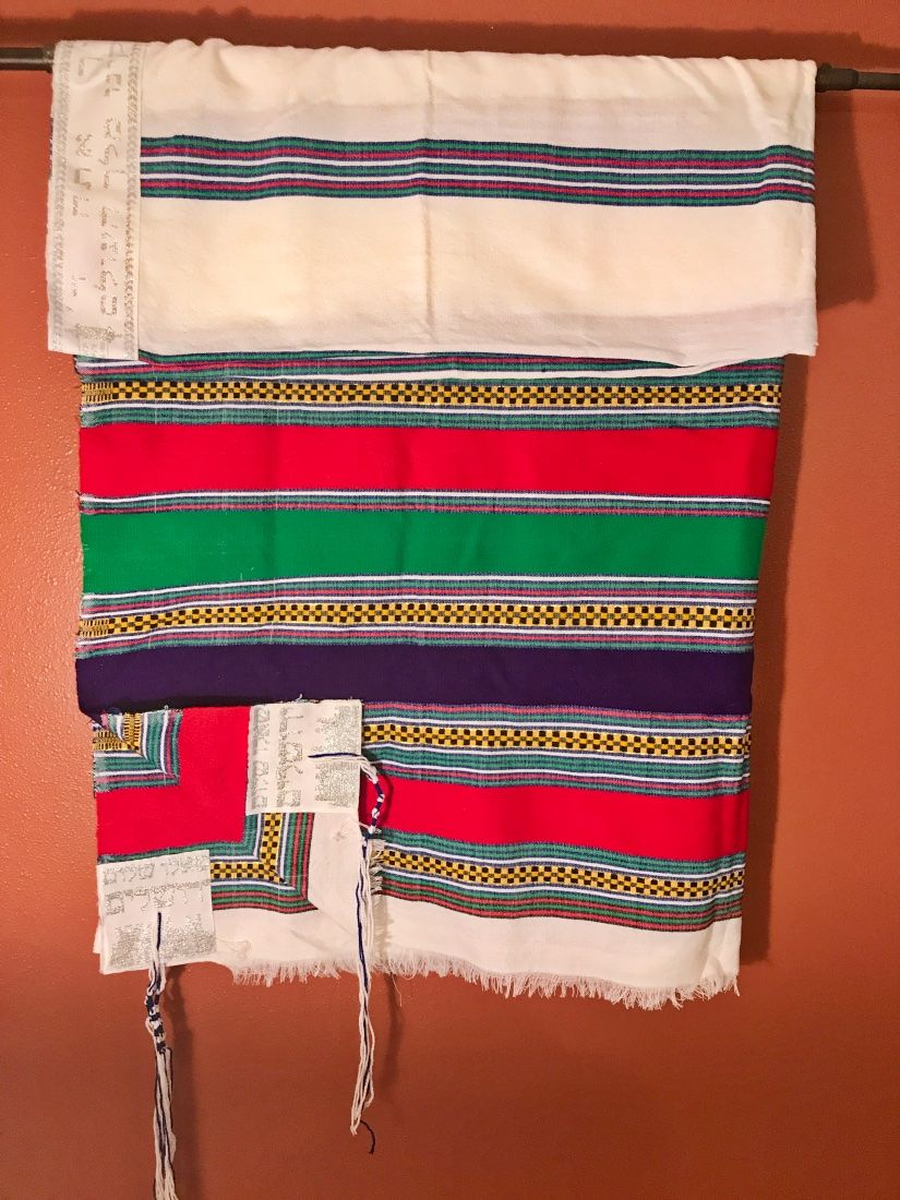Colorful Red Green Purple Tallit with Embroidery