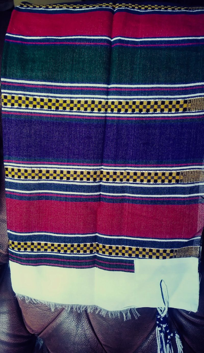 Colorful Red Green Purple Tallit w/o Embroidery